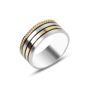 Çizgili Gümüş Alyans, İkili Alyanslar Rodyum Kaplama 925 ayar gümüştür.