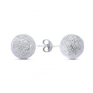 10mm Lazerli Top Gümüş Küpe, Taşsız Küpeler Rodyum Kaplama 925 ayar gümüştür.
