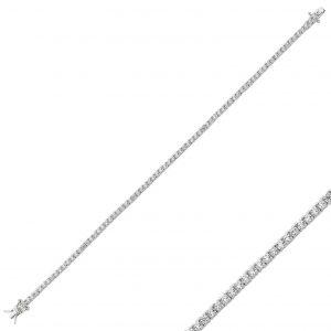 2mm Zirkon Taşlı Tırnaklı Suyolu Gümüş Kadın Bileklik, Zirkon Taşlı Bileklikler Rodyum Kaplama 925 ayar gümüştür.