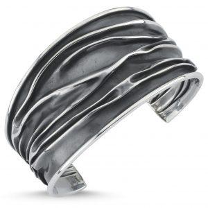 35mm Oksitli Buruşuk Altı Açık Gümüş Kadın Bilezik, Taşsız Bilezikler  925 ayar gümüştür.