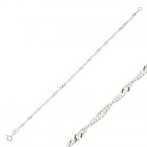 40 Mikron Singapur (Twist) Zincir Gümüş Kadın Bileklik, Zincir Bileklikler  925 ayar gümüştür.