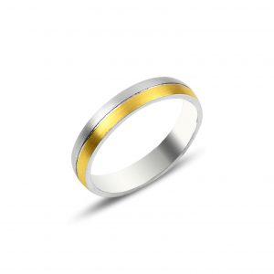 4mm Çift Renk Düz Sade Gümüş Alyans, Sade Alyanslar Rodyum Kaplama 925 ayar gümüştür.