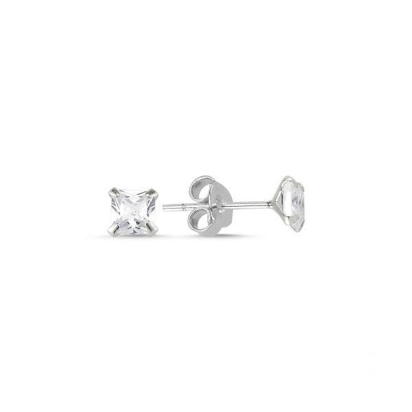 4mm Kare Zirkon Tektaş Gümüş Küpe, Zirkon Taşlı Küpeler  925 ayar gümüştür.