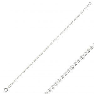 60 Mikron Mariner (Barlı) Zincir Gümüş Kadın Bileklik, Zincir Bileklikler  925 ayar gümüştür.