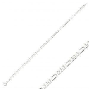 80 Mikron Figaro Zincir Gümüş Kadın Bileklik, Zincir Bileklikler  925 ayar gümüştür.