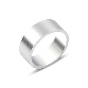 8mm Broseli Düz Sade Gümüş Alyans, Taşsız Erkek Yüzükleri  925 ayar gümüştür.