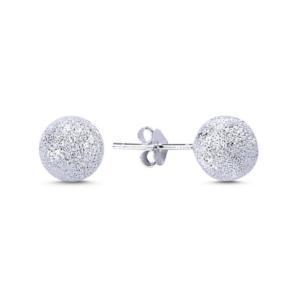 8mm Lazerli Top Gümüş Küpe, Taşsız Küpeler Rodyum Kaplama 925 ayar gümüştür.