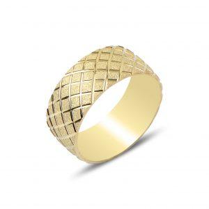 Baklava Desenli Gümüş Alyans, Sade Alyanslar Altın Kaplama 925 ayar gümüştür.