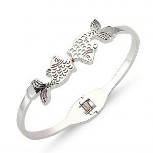 Balık Figürlü Taşsız Gümüş Kadın Bilezik, Taşsız Bilezikler  925 ayar gümüştür.