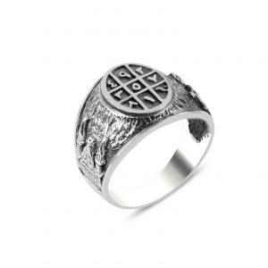 Cami Motifli Ebced Gümüş Erkek Yüzük, Taşsız Erkek Yüzükleri  925 ayar gümüştür.