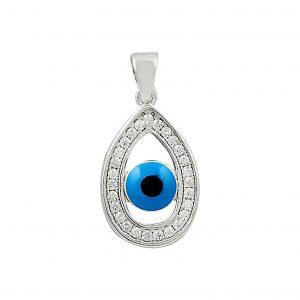 Damla Zirkon Taşlı Göz Gümüş Kolye, Zirkon Taşlı Kolye Uçları  925 ayar gümüştür.