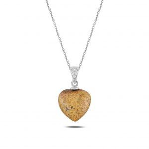 Doğal Taşlı Kalp Gümüş Kolye, Hayalet Kolyeler Doğal Taş Rodyum Kaplama 925 ayar gümüştür.