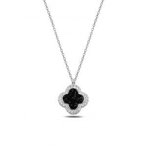 Dört Yapraklı Yonca Siyah-BeyazTaşlı Gümüş Kolye, Hayalet Kolyeler Rodyum Kaplama 925 ayar gümüştür.