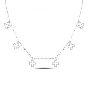 Dörtyapraklı Yonca Gümüş Kolye, Hayalet Kolyeler Rodyum Kaplama 925 ayar gümüştür.