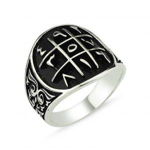 Ebced Motifli Gümüş Erkek Yüzük, Taşsız Erkek Yüzükleri  925 ayar gümüştür.