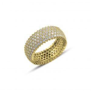 Gümüş 5 Sıra Zirkon Taşlı Tamtur Yüzük, Zirkon Taşlı Bayan Yüzükleri Altın Kaplama 925 ayar gümüştür.