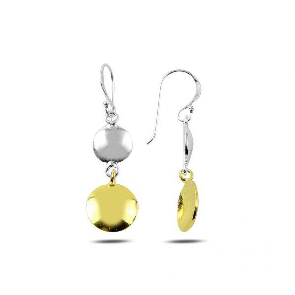 Gümüş Altın Kaplama Sallantılı Pul Küpe, Taşsız Küpeler  925 ayar gümüştür.