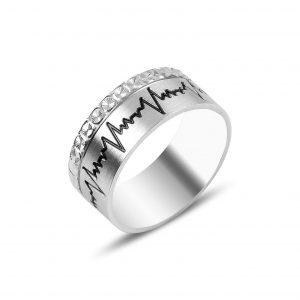 Gümüş Desenli Kalp Ritmi Alyans, İkili Alyanslar Rodyum Kaplama 925 ayar gümüştür.