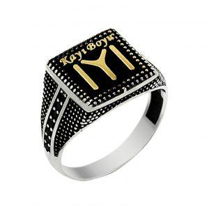 Gümüş Otantik Kayı Boyu Yüzüğü, Zirkon Taşlı Erkek Yüzükleri  925 ayar gümüştür.