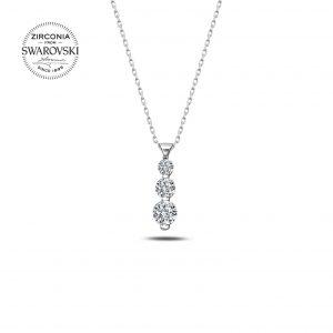 Gümüş Swarovski Zirconia Taşlı Kolye, Zirkon Taşlı Kolyeler Rodyum Kaplama 925 ayar gümüştür.