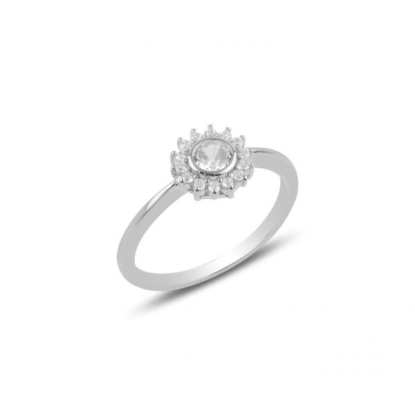 Gümüş Zirkon Tek Taş Çiçek Yüzük, Zirkon Taşlı Bayan Yüzükleri Rodyum Kaplama 925 ayar gümüştür.