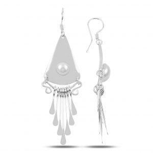 İnci El İşi Sallantılı Gümüş Küpe, El İşi Doğal Taşlı Küpeler Doğal Taş 925 ayar gümüştür.