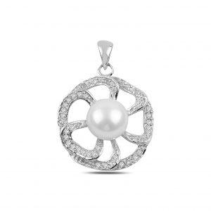 İnci & Zirkon Taşlı Çiçek Gümüş Kolye Ucu, Zirkon Taşlı Kolye Uçları Rodyum Kaplama 925 ayar gümüştür.