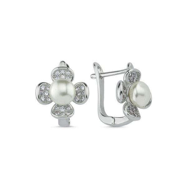 İnci & Zirkon Taşlı Papatya Gümüş Küpe, Zirkon Taşlı Küpeler Rodyum Kaplama 925 ayar gümüştür.