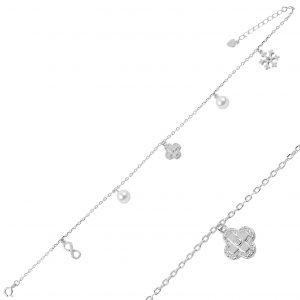 İnci & Zirkon Taşlı Sallantılı Gümüş Halhal, Halhallar Rodyum Kaplama 925 ayar gümüştür.