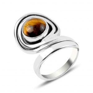 Kaplan Gözü Taşlı El İşi Gümüş Yüzük, Doğal Taşlı Bayan Yüzükleri Doğal Taş 925 ayar gümüştür.