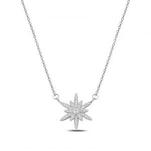 Kar Tanesi Zirkon Gümüş Kolye, Zirkon Taşlı Kolyeler Rodyum Kaplama 925 ayar gümüştür.
