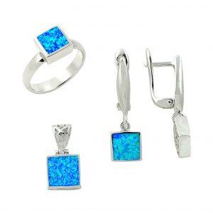 Kare Opal Taşlı Gümüş Takı Seti, Opal Taşlı Setler  925 ayar gümüştür.