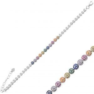 Karışık Renk Zirkon Taşlı Gümüş Kadın Bileklik, Zirkon Taşlı Bileklikler Rodyum Kaplama 925 ayar gümüştür.