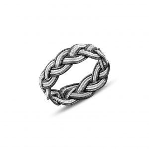 Kazaziye El Örmesi Gümüş Yüzük, Taşsız Bayan Yüzükleri  925 ayar gümüştür.