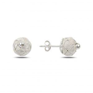 Kazaziye El Örmesi Top Gümüş Küpe, Taşsız Küpeler  925 ayar gümüştür.