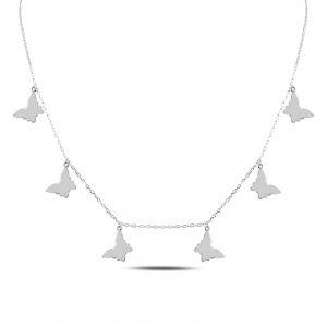 Kelebek Gümüş Kolye, Taşsız Kolyeler Rodyum Kaplama 925 ayar gümüştür.