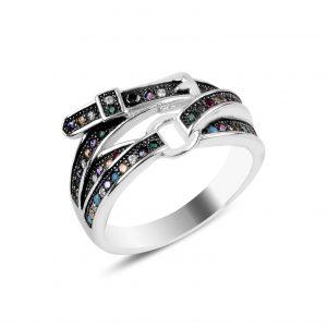 Kemer Çok Renkli Zirkon Taşlı Gümüş Yüzük, Zirkon Taşlı Bayan Yüzükleri Rodyum Kaplama 925 ayar gümüştür.