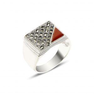 Kırmızı Akik & Markazit Taşlı Gümüş Erkek Yüzük, Doğal Taşlı Erkek Yüzükleri Doğal Taş 925 ayar gümüştür.