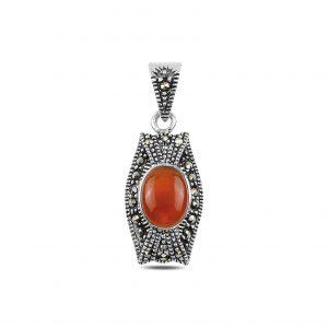 Kırmızı Akik & Markazit Taşlı Gümüş Kolye Ucu, Zirkon Taşlı Kolye Uçları  925 ayar gümüştür.