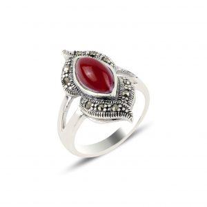 Kırmızı Akik & Markazit Taşlı Gümüş Yüzük, Doğal Taşlı Bayan Yüzükleri  925 ayar gümüştür.