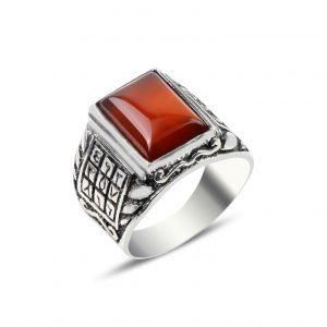 Kırmızı Akik Taşlı Ebced Gümüş Erkek Yüzük, Doğal Taşlı Erkek Yüzükleri  925 ayar gümüştür.