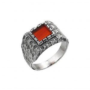 Kırmızı Akik Taşlı Gümüş Erkek Yüzük, Doğal Taşlı Erkek Yüzükleri Doğal Taş 925 ayar gümüştür.