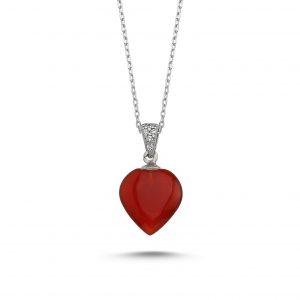 Kırmızı Akik Taşlı Kalp Gümüş Kolye, Hayalet Kolyeler Doğal Taş Rodyum Kaplama 925 ayar gümüştür.