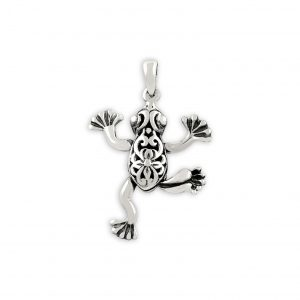 Kurbağa Gümüş Kolye Ucu, Taşsız Kolye Uçları  925 ayar gümüştür.