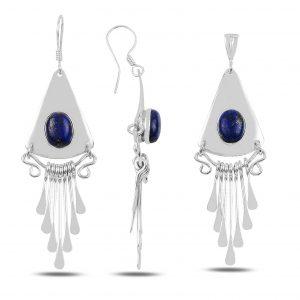 Lapis Lazuli Taşlı El İşi Gümüş Takı Seti, El İşi Doğal Taşlı Setler Doğal Taş 925 ayar gümüştür.