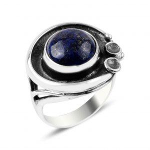 Lapis Lazuli Taşlı El İşi Gümüş Yüzük, Doğal Taşlı Bayan Yüzükleri Doğal Taş 925 ayar gümüştür.