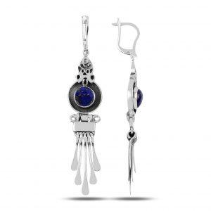 Lapis Lazuli Taşlı ve Sallantılı El İşi Gümüş Küpe, El İşi Doğal Taşlı Küpeler Doğal Taş 925 ayar gümüştür.