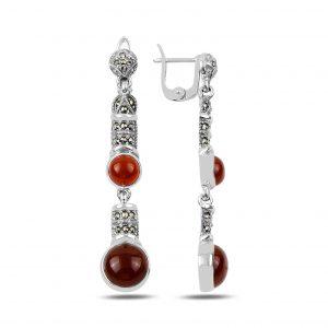 Markazit & Kırmızı Akik Taşlı Sallantılı Gümüş Küpe, Markazit Taşlı Küpeler  925 ayar gümüştür.