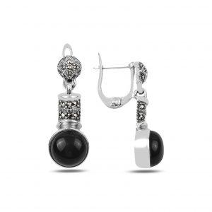 Markazit & Oniks Taşlı Sallantılı Gümüş Küpe, Markazit Taşlı Küpeler  925 ayar gümüştür.