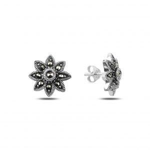 Markazit Taşlı Çiçek Gümüş Küpe, Markazit Taşlı Küpeler  925 ayar gümüştür.